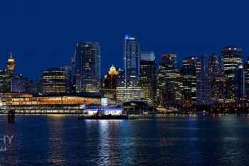 Panoramic Vancouver Night Skyline by Manfred G Kraus