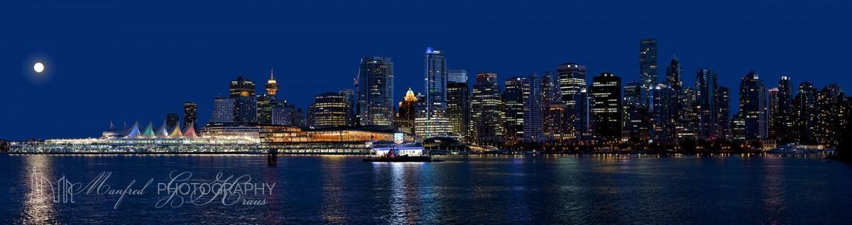 Panoramic Vancouver Night Skyline by Manfred G Kraus