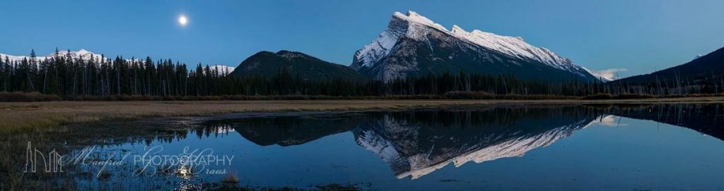 Mt Rundle Moon Night